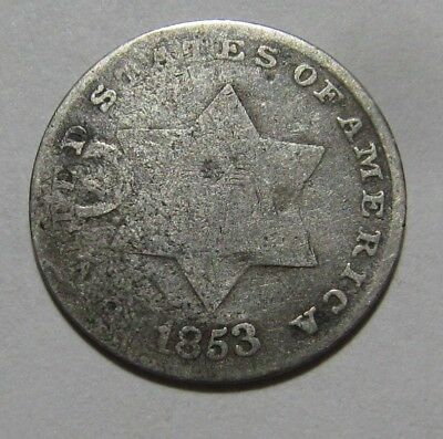 1853 Three Cent Silver - Circulated Condition - 40SA