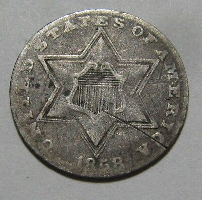 1858 Three Cent Silver - Circulated Condition - 42SA