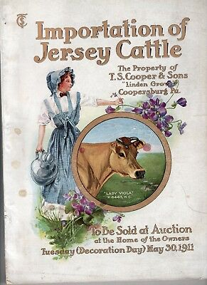 Beautiful, Large 1911 Cooper & Sons, Pennsylvania Jersey Cattle Auction Catalog