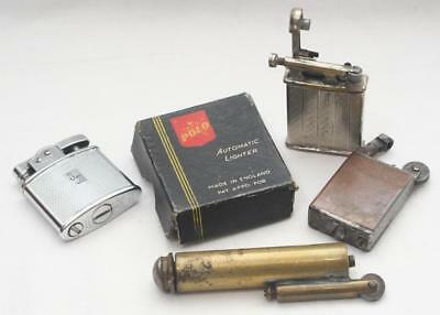 Lot of 4 Antique Vintage Lighter - Polo with Original Box Trench Type Lift Arm +