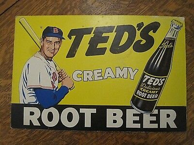 ORIGINAL 1950's/60's Ted's Root Beer cardboard display sign-Ted Williams-Red Sox