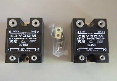 Two Crydom D2450 Solid State Relays 3-32 Vdc Input 240 Vac 50A Output