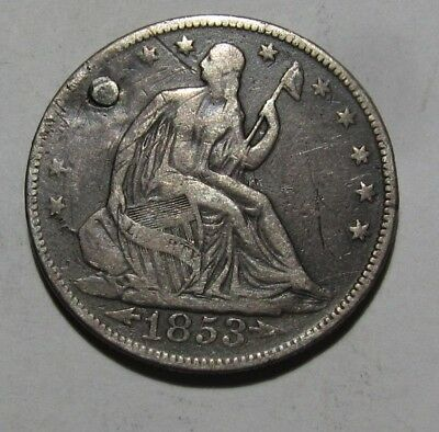 1853 w/ Arrows Seated Liberty Half Dollar - VF to EF Details / Plugged - 151SA