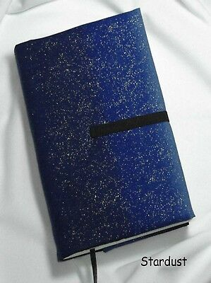 """7 x 4"""" Fabric Book Cover- Adjustable Thickness. """"Stardust"""" print Handmade in USA"""