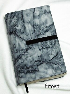 """7 x 4"""" Fabric Book Cover- Adjustable Thickness. """"Frost"""" print Handmade in USA"""