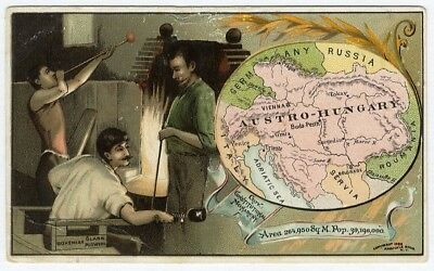 AUSTRO-HUNGARY no. 98 ARBUCKLE COFFEE trade card BOHEMIAN Glass Blowing MAP