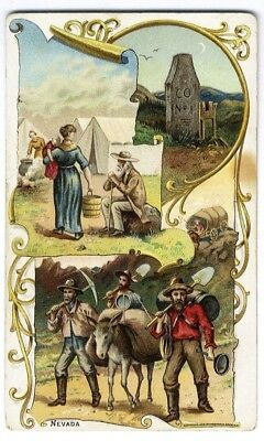 GOLD MINERS on 1892 ARBUCKLE coffee TRADE CARD no. 27 SILVER MINES Death Valley