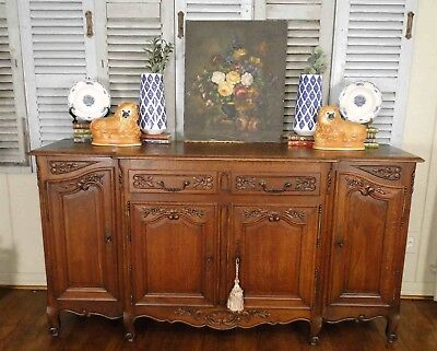 Antique French Country Buffet Sideboard Server Provence Carving Parquet