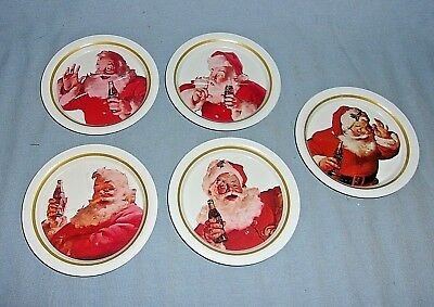 5 Vintage Tin Ohio Art Santa Claus Coca-Cola Coasters New
