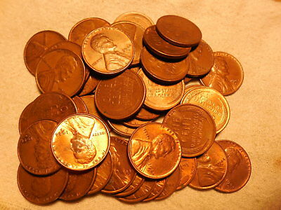 50 pcs.FULL ROLL LINCOLN WHEAT CENTS 1944-D AU/RB