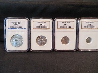2007 4-coin Platinum Eagle Set -NGC MS70-FREE SHIPPING