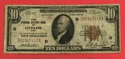 1929 $10 Brown Seal National Currency Cleveland! VG! Old US Paper Currency X112