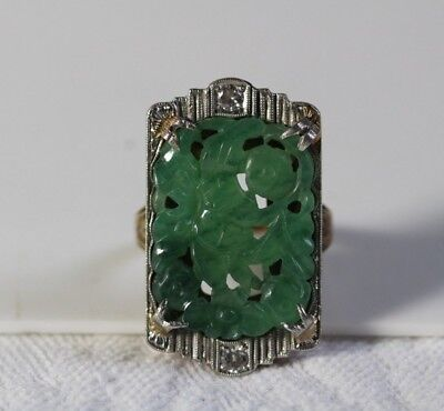 Antique c.1920's Art Deco 14k Gold Chinese Carved Jade & Diamonds Ring Size 4.75