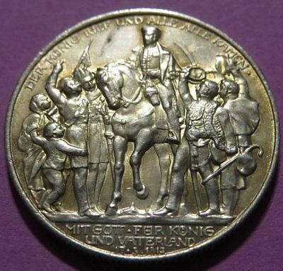 1913 PRUSSIA Germany 2 Mark Silver Toned UNC Cond. 100 Ann. Defeat of Napoleon.