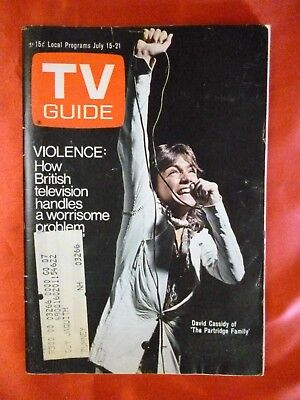 New England July 15 1972 TV Guide DAVID CASSIDY Partridge Family Merchandising $