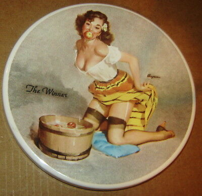 Elvgren Pin-Up Girl Porcelain Coaster The Winner Bobbing For Apples 4""