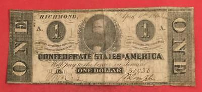 1863 $1 US Confederate States of America! VG! Old US Paper Money Currency