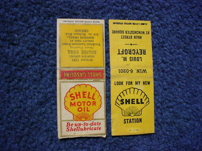 Lot of 2 Early Shell Motor Oil Gasoline Matchbook Covers !!!