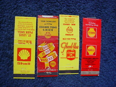 Lot of 4 Shell Motor Oil Gasoline Matchbook Covers !!!