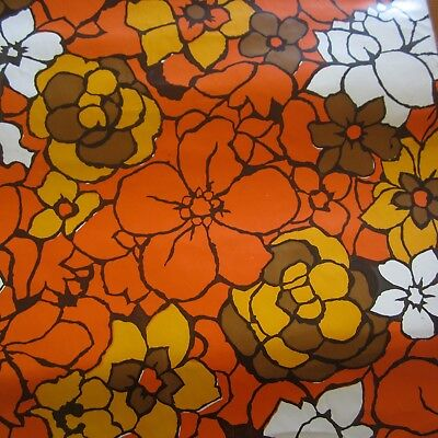 29cm x 21cm Con-Tact Orange Retro Floral Vintage Contact Decor Paper 1960s new