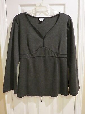 MOTHERHOOD MATERNITY Women's Dark Gray Long Sleeve V-Neck Top Size: XL