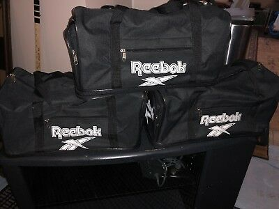 06b4a5e72401 Vintage 90s REEBOK Duffle Bag 3 sided Logo Spellout Black Small Gym Bag