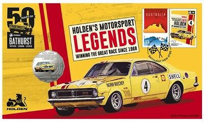 2018 Holden 50c Coin - PNC Stamp & Coin Cover - 1970 HT Monaro GTS 350