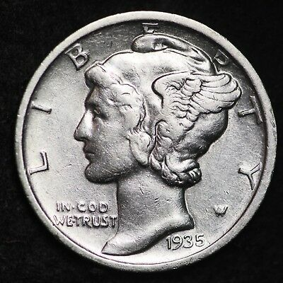 UNCIRCULATED 1935 D Mercury Silver Dime FREE SHIPPING