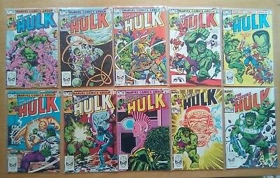 JOB LOT 10 x HULK #280,281,282,283,284,285,286,287,288,289 MARVEL COMICS 1983