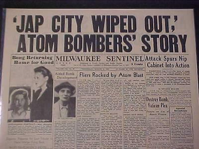 Vintage Newspaper Headline~World War Atomic Bomb Droped Japan Japanese City Wwii