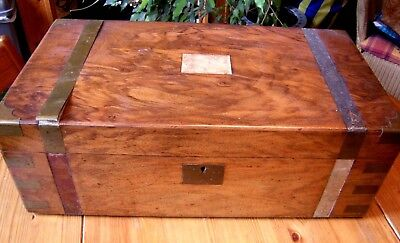 Large Victorian Brass Bound Writing Box Slope With Secret Drawers To Restore.