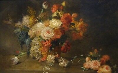 Large 19th Century French Roses Still Life Summer Flowers In A Basket Signed