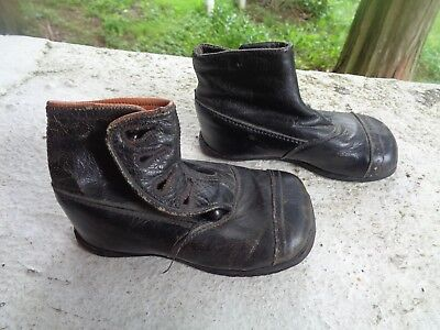 Antique Victorian Baby Toddler Children's Shoes Black Leather Button Up