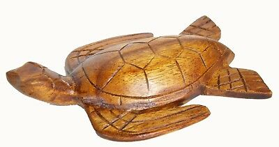 Hand Carved Wooded Sea Turtle Sculpture Baby Center Piece Wall Tropical Nautical