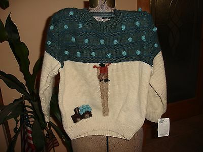SOLANA PURE WOOL HAND KNITTED SWEATER MADE IN URUGUAY CHILDREN SZ L NWT fds