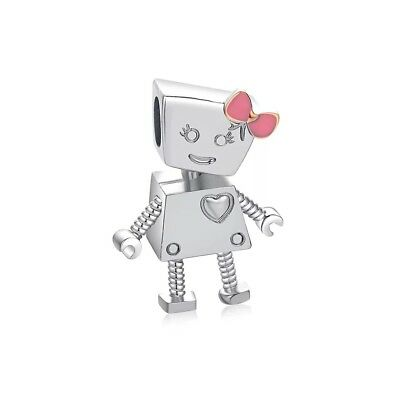 European 925 Silver CZ Charm Robot Beads Pendant Fit Bracelet Necklace Q41