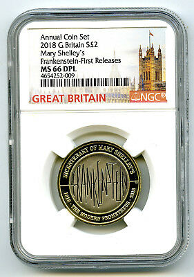2018 Great Britain 2Pnd Ngc Ms66 Dpl Mary Shelley's Frankenstein Fr Pop Only 4