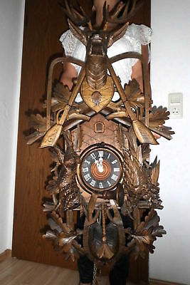 huge vintage cuckoo clock,black forest wall clock regula made germany 8day
