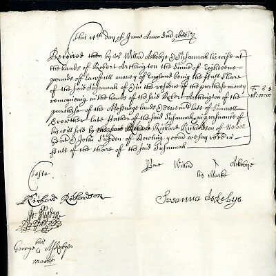 1680 Legal Document on Two Pages with Red Wax Seal signed Mary Crowther (S921)
