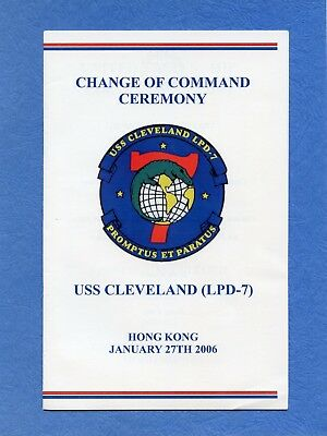 USS Cleveland LPD 7 Change of Command Navy Ceremony Program with Invitation