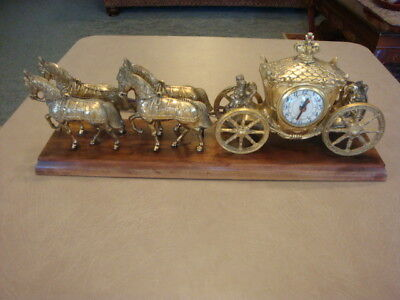 Vintage 1950's United USA 4 Horse Drawn Carriage Brass Metal CLOCK Parts/Repair