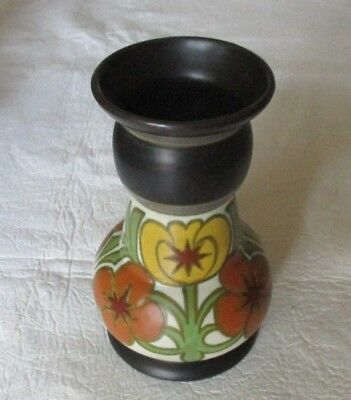 "Gouda Holland Pottery  Vase 501 Acherin   6 1/2"" Tall  Floral Art Deco Design"