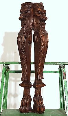 GOTHIC LION GRIFFIN POST PILLAR PAIR ANTIQUE HAND CARVED WOOD TRIM CARVING 19th