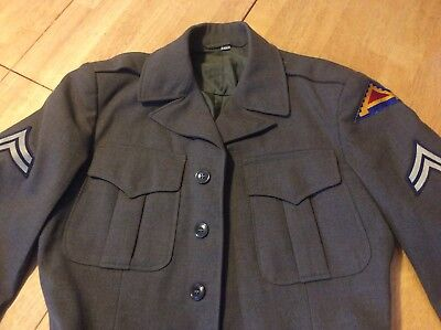 Vintage World War II WW2 US Army Wool Dress Coat Jacket Size 36