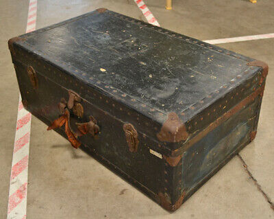 Antique Steamer Trunk Rivited Black Chest Foot Locker For Coffee Table & Storage