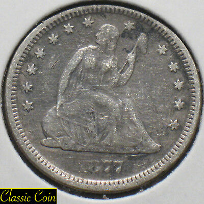 1877-S Silver Seated Liberty Quarter 25c VF Details 90% Silver