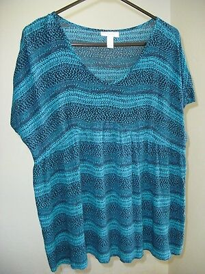 Women's Maternity Large Summer Blouse Blue Teal Rayon Stretchy Cool