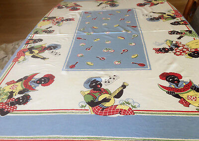Vintage Black Americana Table Cloth - Clean Bold colors