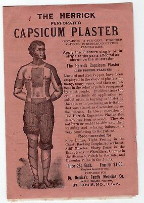 1800's Herrick Healing Red Pepper Plaster Pads brochure with 2 Pads