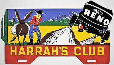 Harrah's Club License Plate Topper Nice Reproduction